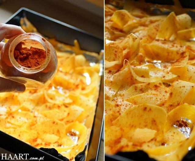 chipsy z dyni przyprawione słodką papryką, przepis diy