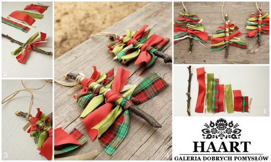 dekoracje świąteczne wstążeczki na patyku