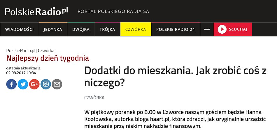 pr czwórka hanna kozłowska gość programu najlepszy dzień tygodnia 04.08.2017 - haart.pl blog diy zrób to sam