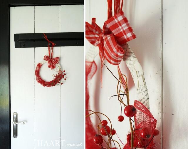 świąteczny wianek, prosta ozdoba do powieszenia w domu