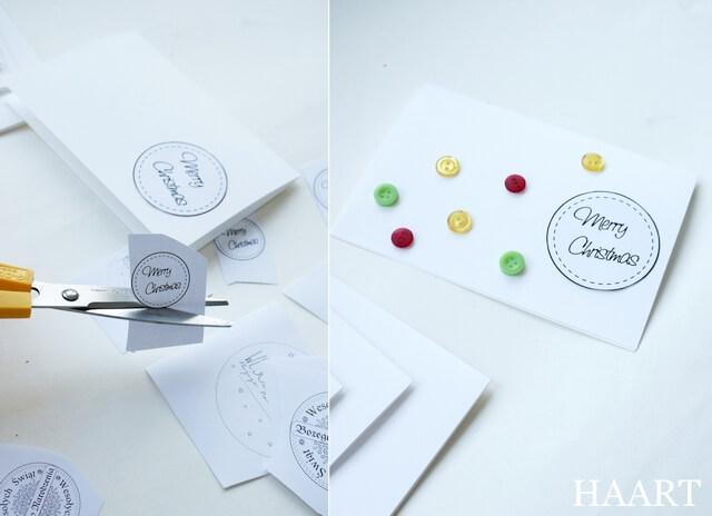 kartka świąteczna, wycinanie życzeń i przyklejanie guzików