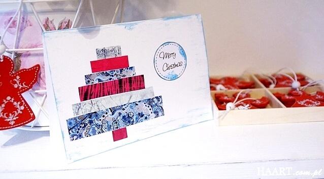 ręcznie wykonana kartka bożonarodzeniowa