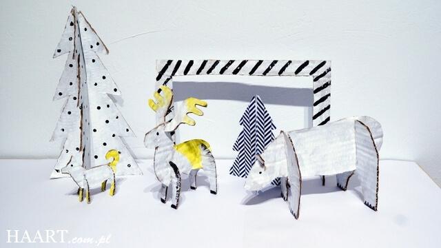 zimowa szopka ze zwierzętami diy, figury z kartonu, szablon