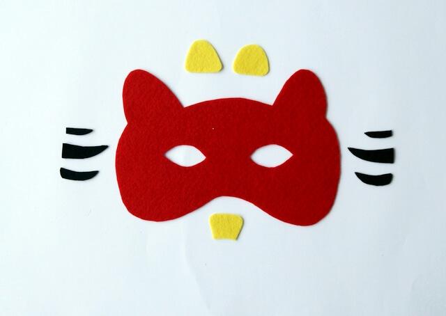 strój karnawałowy dla dziecka diy, elementy maski, motyw tygrysa