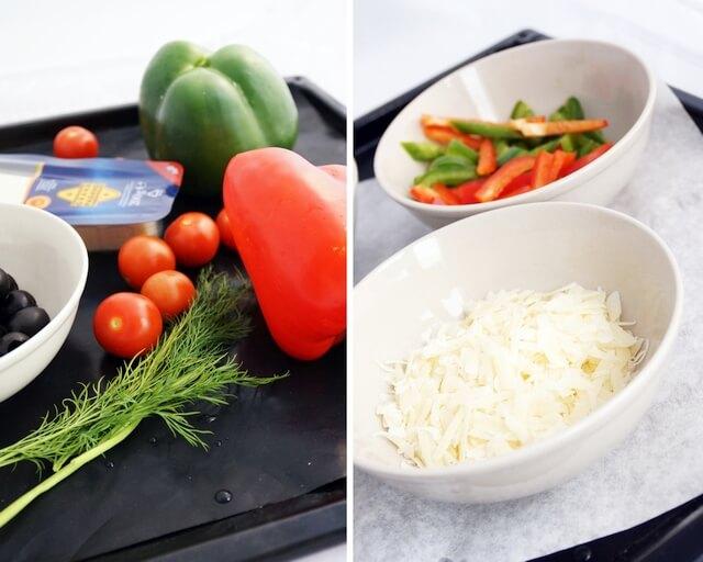 posiekane warzywa, składniki przystawki na cieście