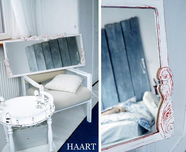 lustro shabby chic  z ikea, efekt końcowy z drewnianymi dekorami