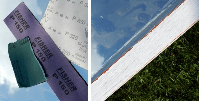 efekt shabby chic, przecieranie papierem ściernym