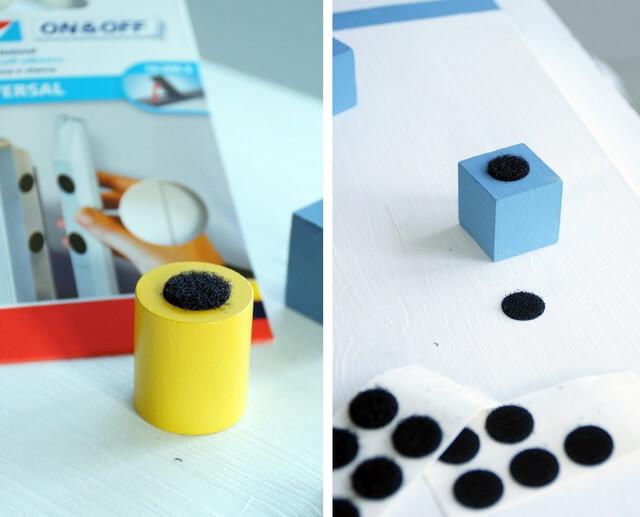 rzepy tesa, montaż na klockach i tablicy edukacyjnej dla małych dzieci