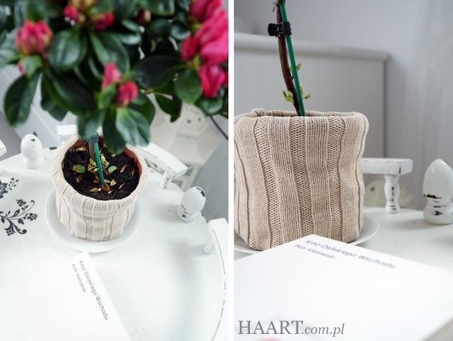 osłonka na doniczkę, upcycling, recycling, wełniany stary sweter, rękaw, szycie, instrukcja krok po kroku, jak zrobić - haart.pl blog diy zrób to sam 5