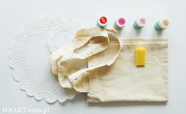 farby do tkanin, gąbka, tapowanie, torba lniana bawełniana, serwetka, krok po kroku, instrukcja - haart.pl blog diy zrób to sam 1