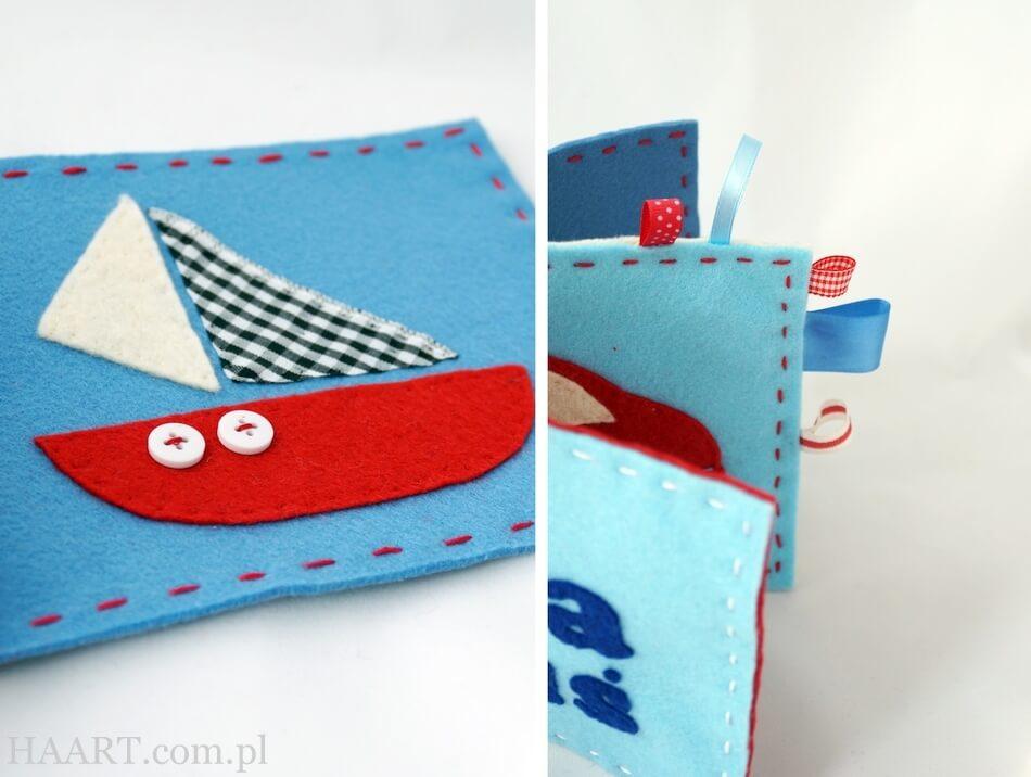 filcowa książeczka dla małych dzieci, sensoryczna, motyw żaglówki