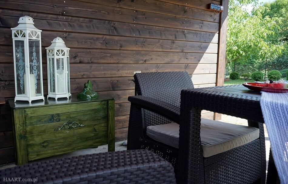fotel i stół z technorattanu, zestaw corfu do ogrodu