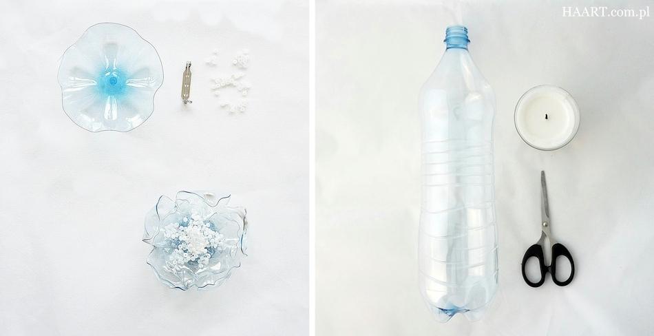 z plastikowej butelki, broszka, butelka pet, nożyczki, szklane koraliki, świeczka, klej, instrukcja krok po kroku - haart.pl blog diy zrób to sam 1