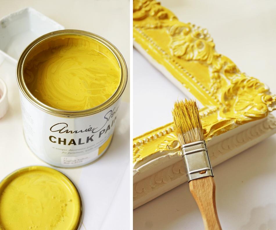 postarzanie gipsowej ramy annie sloan chalk paint soft wax malowanie samodzielnie farba kredowa - haart.pl blog diy zrób to sam 3