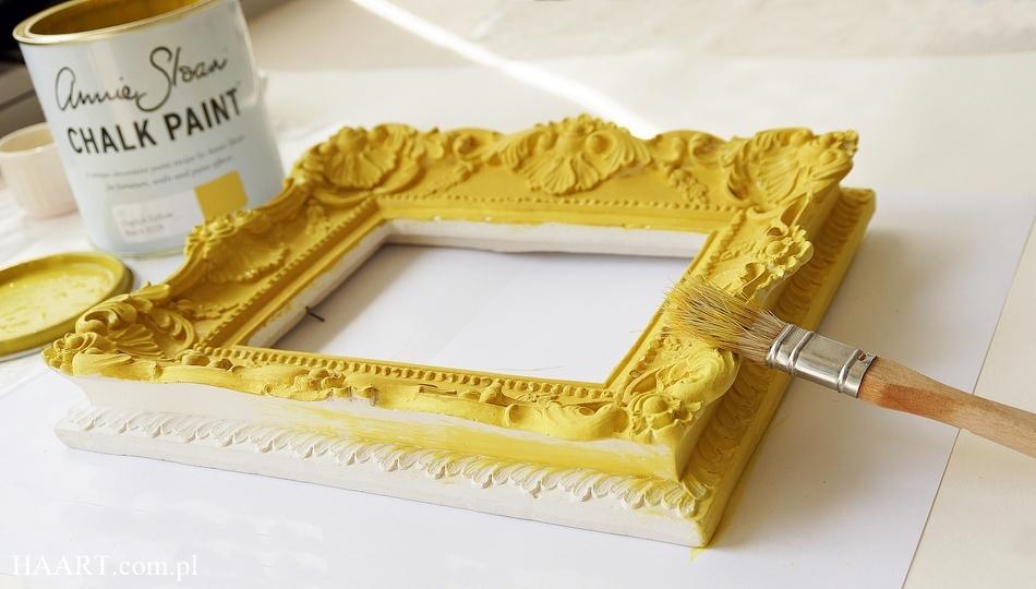 postarzanie gipsowej ramy annie sloan chalk paint soft wax malowanie samodzielnie farba kredowa - haart.pl blog diy zrób to sam 4