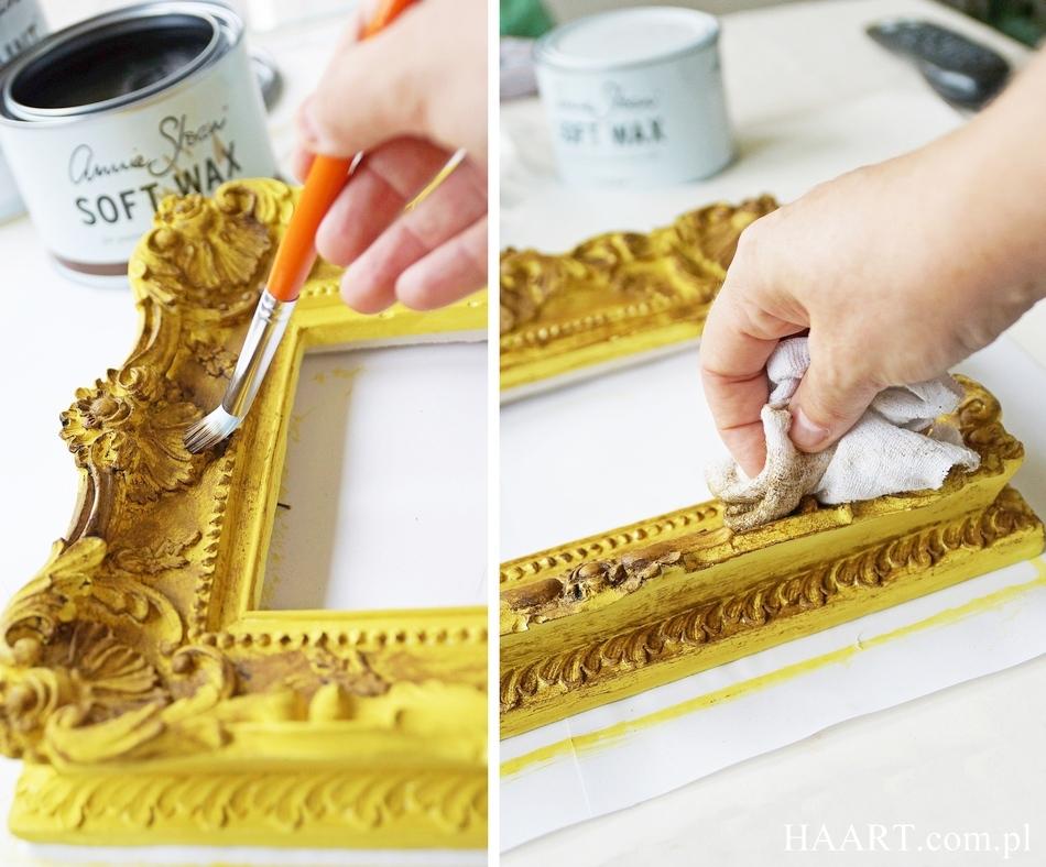 postarzanie gipsowej ramy annie sloan chalk paint soft wax malowanie samodzielnie farba kredowa - haart.pl blog diy zrób to sam 5