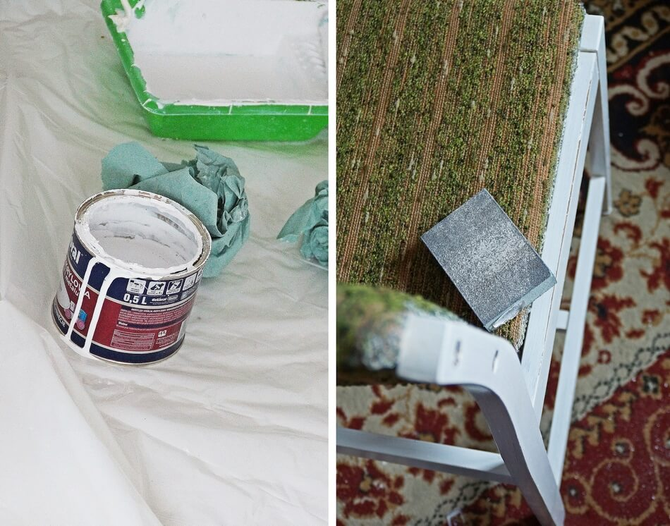 malowanie mebli białą farbą akrylową, szlifowanie