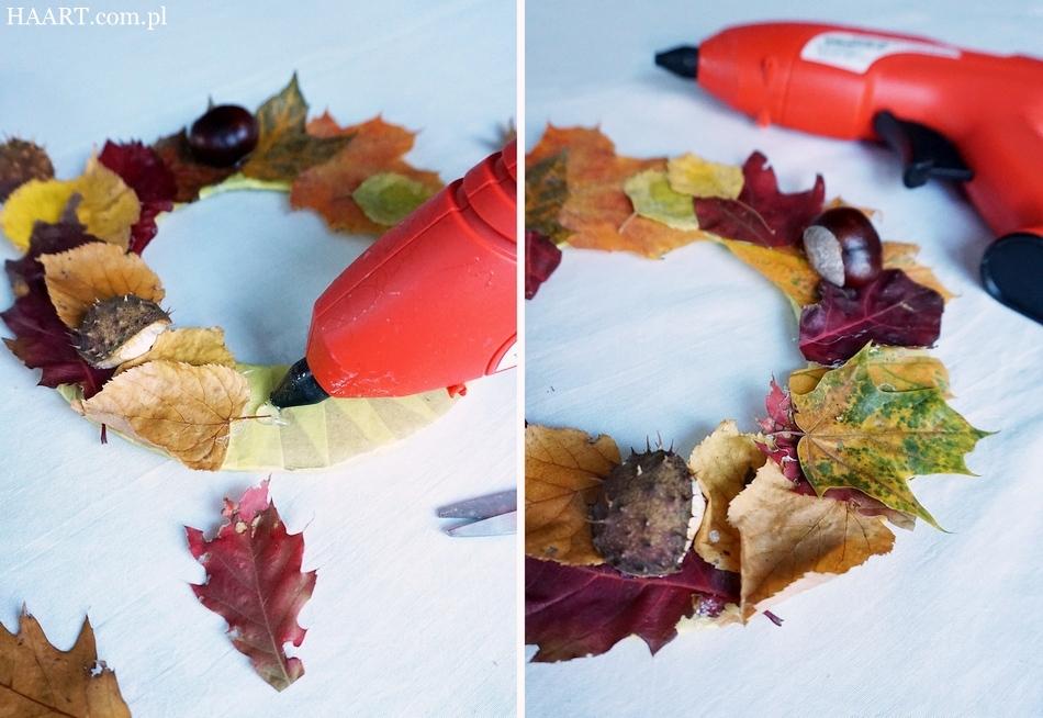 jesienny stroik, dekoracja na jesienny stół, liście, kasztany, tektura, klej, nożyczki, pistolet klejowy - haart.pl blog diy zrób to sam 5