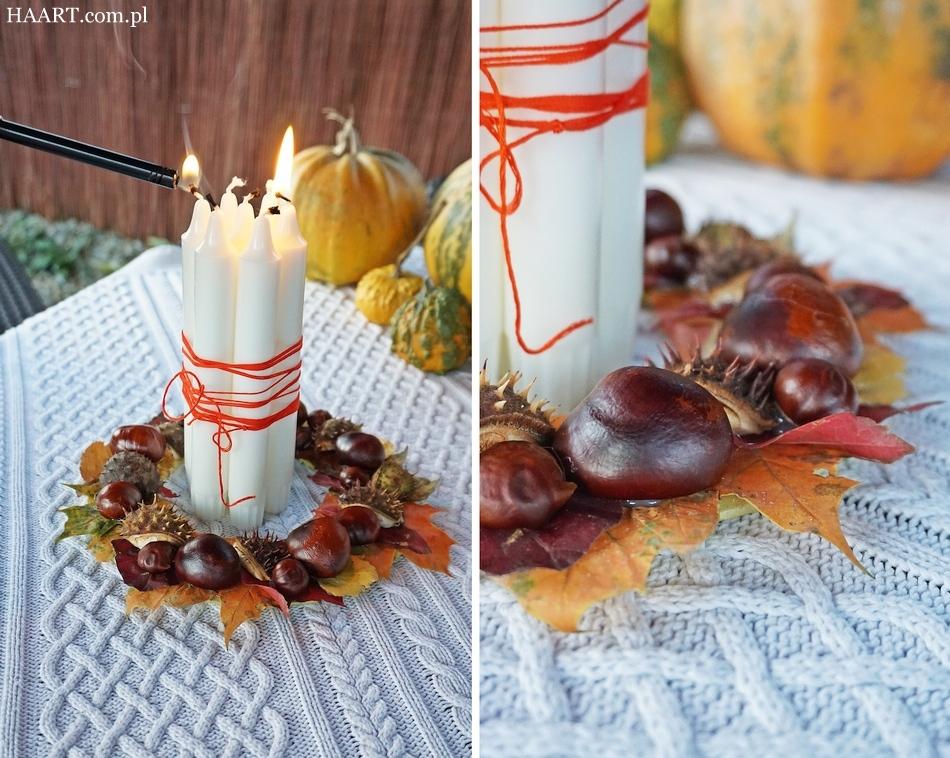 jesienny stroik, dekoracja na jesienny stół, liście, kasztany, tektura, klej, nożyczki, świece, wianek - haart.pl blog diy zrób to sam 7