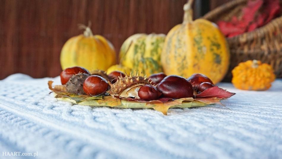 jesienny stroik, dekoracja na jesienny stół, liście, kasztany, tektura, klej, nożyczki, wianek - haart.pl blog diy zrób to sam 8