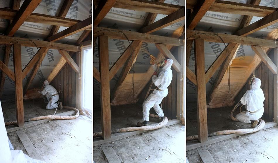 ocieplanie poddasza, natryski izolacji piankowej na dach i krokwie