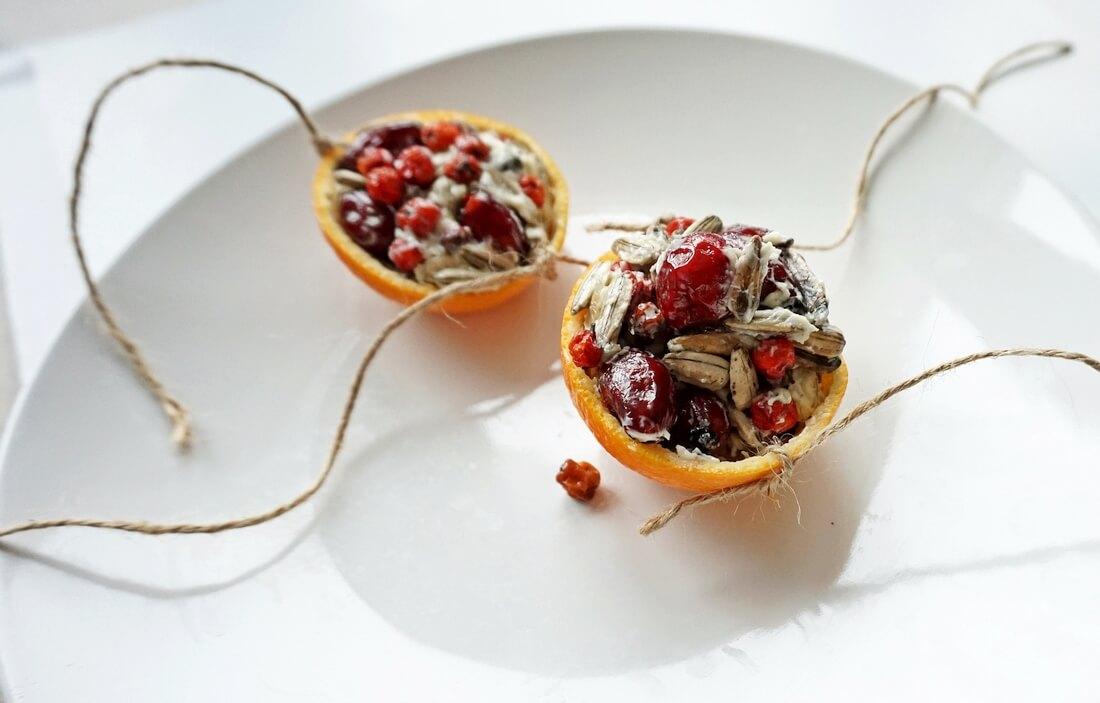 dokarmianie ptaków mandarynka z ziarnami i owocami na sznurku