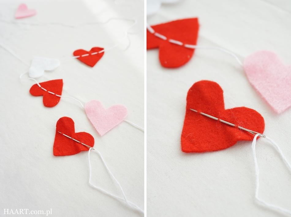 3 pomysły dla zakochanych, instrukcja krok po kroku, girlanda z serduszek, nożyczki, igła, nitka, filc - haart.pl blog diy zrób to sam 2