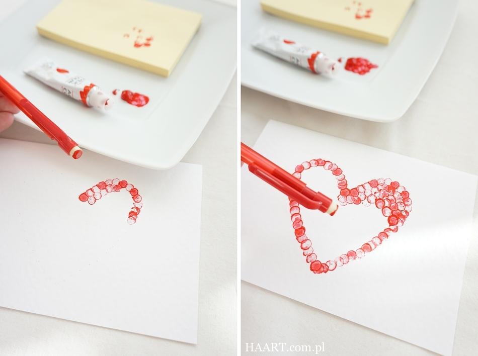 3 pomysły dla zakochanych, instrukcja krok po kroku, walentynka, gumka, tusz, kartka - haart.pl blog diy zrób to sam 1