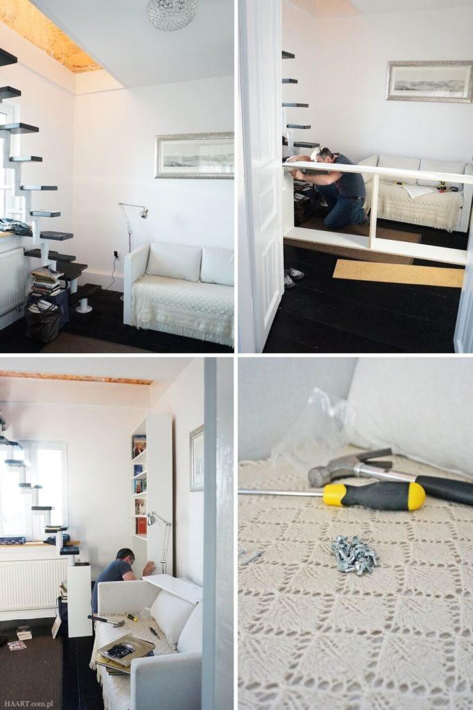 montaż mebli ikea, biblioteczka w przechodnim pokoju ze schodami