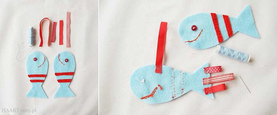 rybka diy zawieszka przyszywanie oczu i ust zabawka dla dziecka do spania