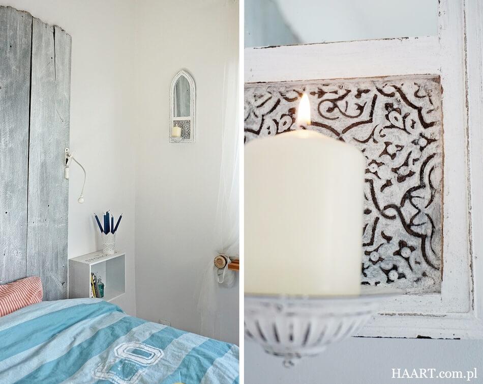 świecznik z lustrem w stylu shabby chic, na ścianie w sypialni