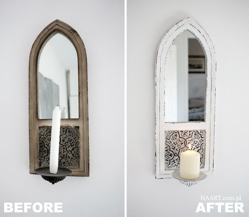 świecznik z lustrem shabby chic, przed i po renowacji