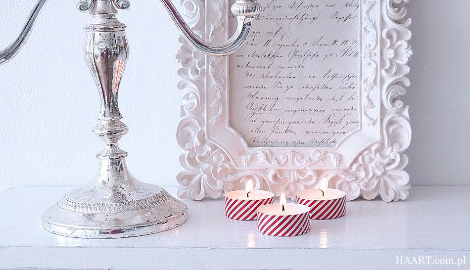 ozdobne świeczki, taśma dekoracyjna, instrukcja krok po kroku, efekt końcowy - haart.pl blog diy zrób to sam 3