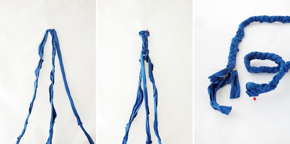 naszyjnik z t-shirta, koraliki, kryształki, igła, nitka, filc, bawełna, instrukcja krok po kroku, warkocz ze sznurków bawełnianych - haart.pl blog diy zrób to sam 2