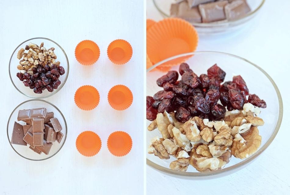 domowe czekoladki z bakaliami, orzechy i żurawina, słodycze, deser, przekąska, proste gotowanie, przepis na, kuchnia - haart.pl blog diy zrób to sam 3