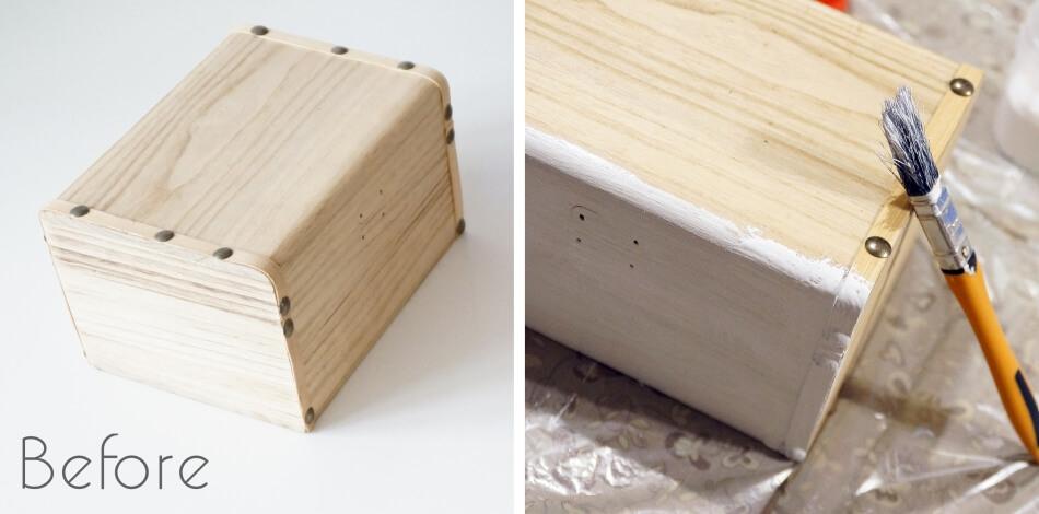 decoupage krok po kroku, malowanie drewnianej skrzynki diy