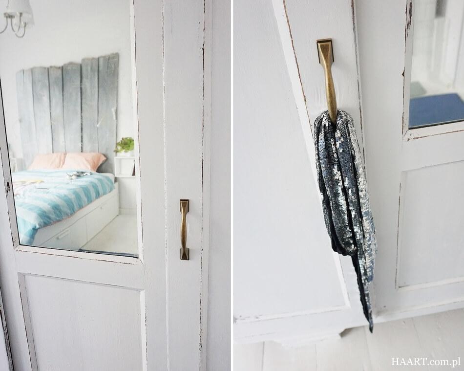 jak odnowić starą szafę, efekt shabby chic w sypialni