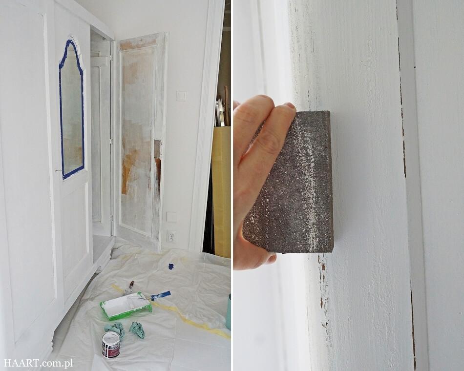 jak odnowić starą szafę w stylu shabby chic, przecieranie rogów, malowanie