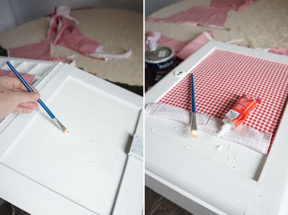 oklejanie tkaninami diy, przyklejanie materiału do frontu odnowionej szafki