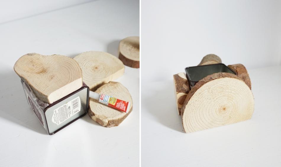 drewniane doniczki, zrób je samodzielnie, instrukcja krok po kroku, manual, klej puszka, krążki drewna plastry brzoza - haart.pl blog diy zrób to sam 2