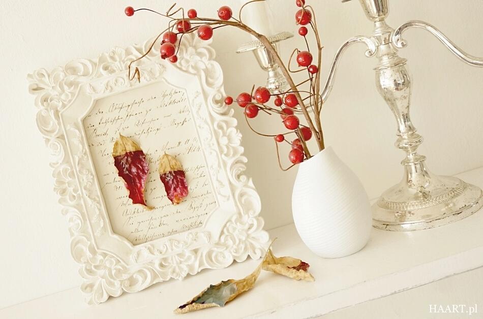 liście w ramce, dekoracja do mieszkania diy