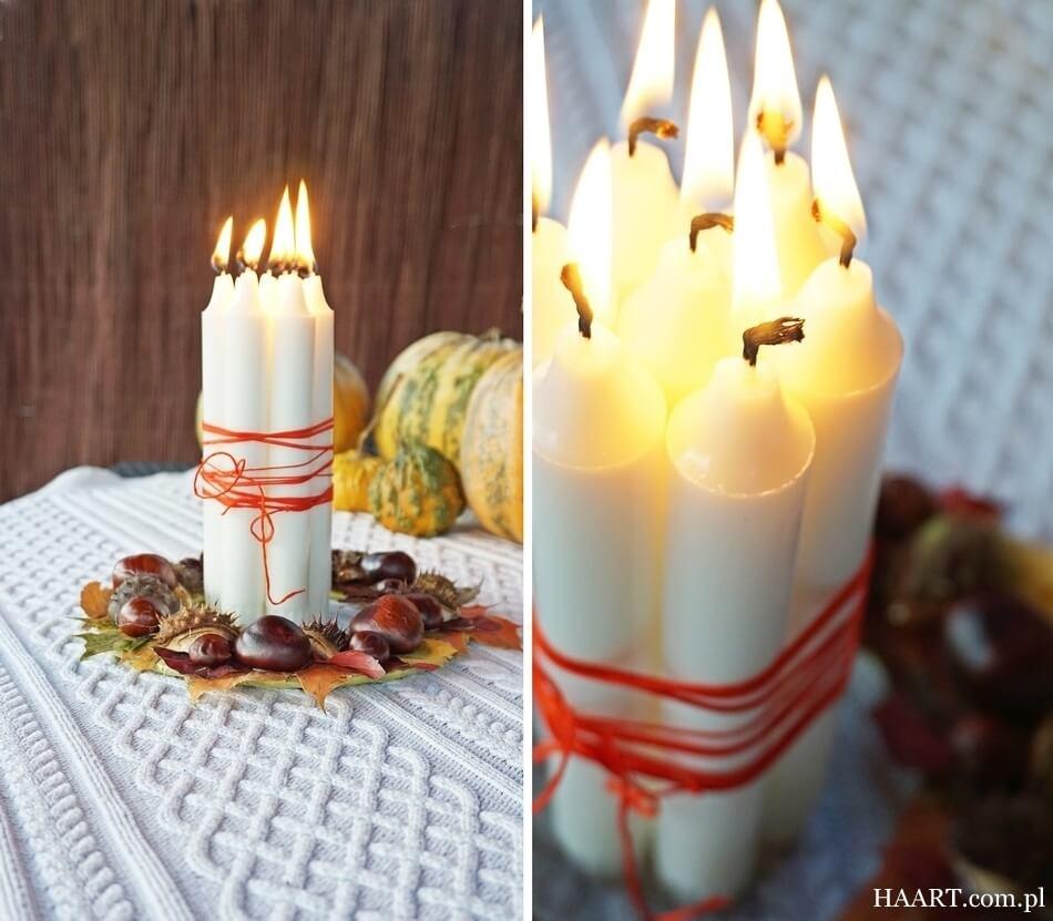 jesienne dekoracje, stroik ze świecami w ogrodzie
