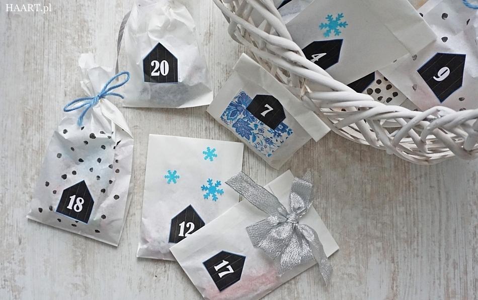 kalendarz adwentowy do druku, wydrukuj bezpłatnie szablon, torebki śniadaniowe, sznurek, słodycze, stwórz samodzielnie, instrukcja - haart.pl blog diy zrób to sam 4