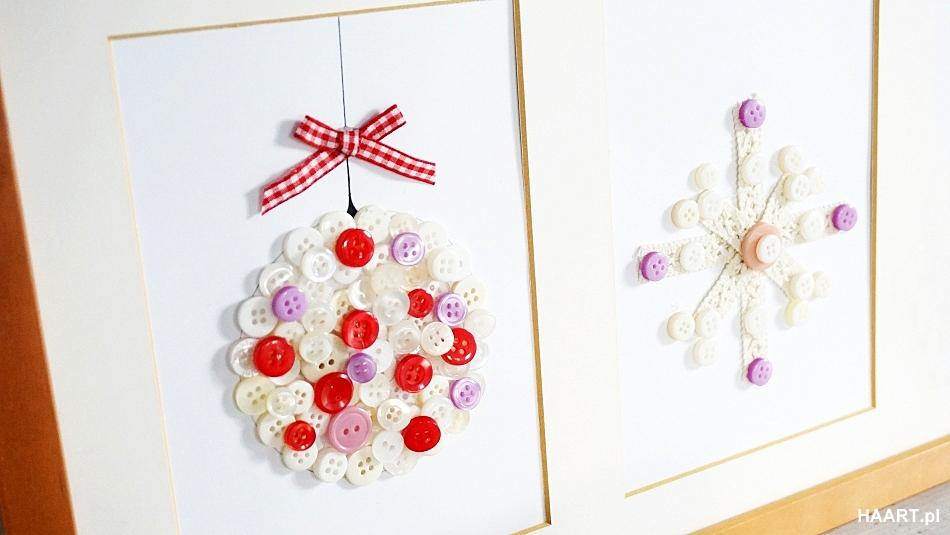 Świąteczne dekoracje pokoju, bombka z guzików rama samodzielnie, ozdoby na boże narodzenie wigilia - haart.pl blog diy zrób to sam