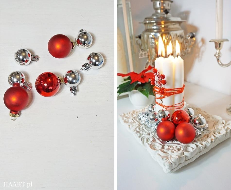 świąteczne stroiki czerwony stroik czerwone bombki, satynowa wstążka, świeca, nożyczki, koraliki, rama do zdjęcia wykonaj samodzielnie - haart.pl blog diy zrób to sam 6