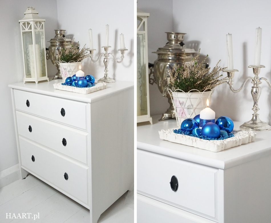 świąteczne stroiki niebieskie bombki, satynowa wstążka, świeca, nożyczki, koraliki, rama do zdjęcia wykonaj samodzielnie - haart.pl blog diy zrób to sam 4