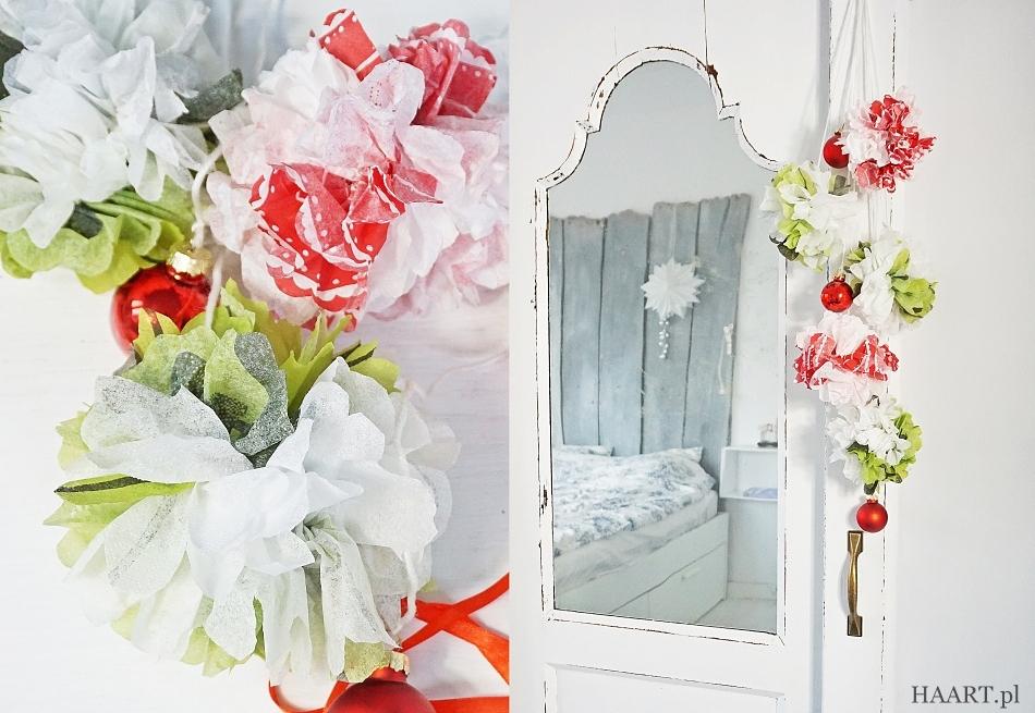dekoracja z serwetki, boże narodzenie, święta, ozdoba girlanda, papier, sznurek samodzielnie - haart.pl blog diy zrób to sam 4
