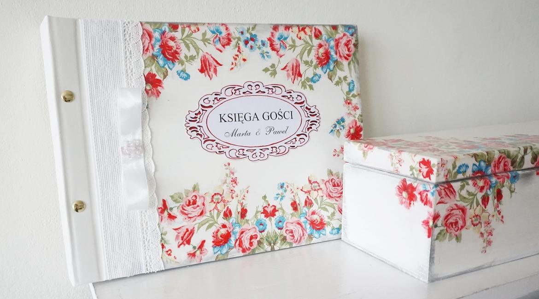 Prezent na ślub. Pudełko z życzeniami i zdobiona księga gości.