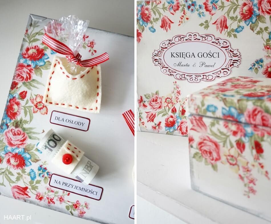 księga gości weselnych, gadżety z pudełka z życzeniami dla pary młodej, prezent na ślub