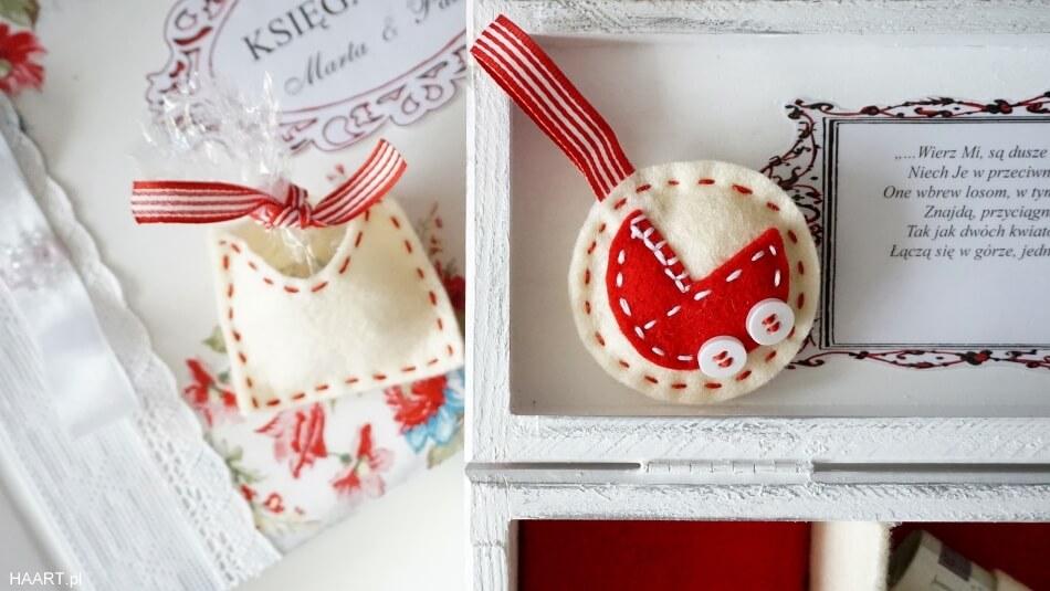 prezent na ślub, księga gości weselnych decoupage, pudełko z życzeniami, filc
